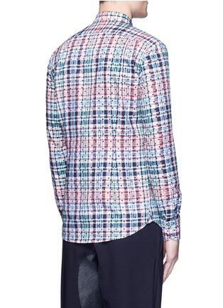 Back View - Click To Enlarge - kolor - Polka dot patch check plaid bib shirt