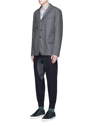 Figure View - Click To Enlarge - kolor - Polka dot patch check plaid bib shirt
