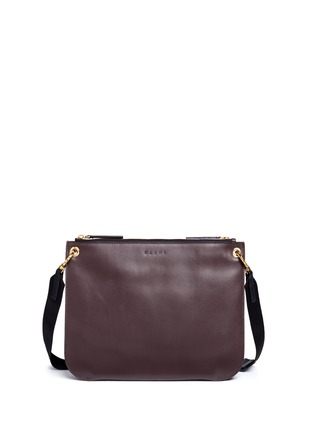 Back View - Click To Enlarge - Marni - 'Bandoleer' detachable pouch leather shoulder bag