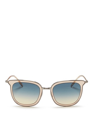 Main View - Click To Enlarge - Oliver Peoples - 'Anetta' acetate temple metal square sunglasses