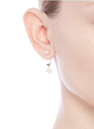 Figure View - Click To Enlarge - DELFINA DELETTREZ - 'ABC Micro Eye Piercing' freshwater pearl 18k yellow gold single earring – N