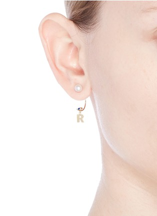 Figure View - Click To Enlarge - DELFINA DELETTREZ - 'ABC Micro Eye Piercing' freshwater pearl 18k yellow gold single earring – R