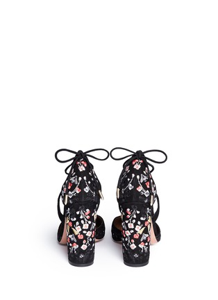 Back View - Click To Enlarge - Aquazzura - 'Karlie' floral embroidery suede pumps