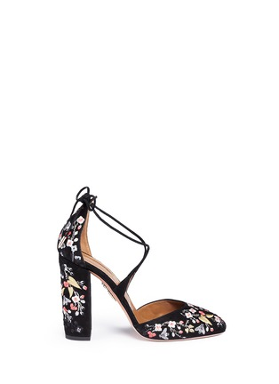 Main View - Click To Enlarge - Aquazzura - 'Karlie' floral embroidery suede pumps