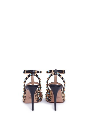 Back View - Click To Enlarge - Valentino - 'Rockstud Rolling' cabochon leopard print calfhair pumps
