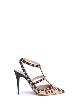 Main View - Click To Enlarge - Valentino - 'Rockstud Rolling' cabochon leopard print calfhair pumps