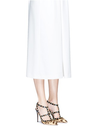 Figure View - Click To Enlarge - Valentino - 'Rockstud Rolling' cabochon leopard print calfhair pumps