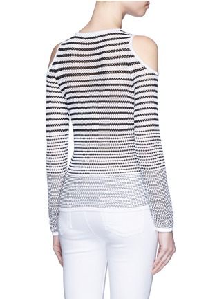 Back View - Click To Enlarge - rag & bone/JEAN - 'Brenna' gradient stripe cutout shoulder sweater