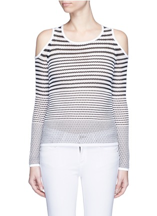 Main View - Click To Enlarge - RAG & BONE/JEAN - 'Brenna' gradient stripe cutout shoulder sweater