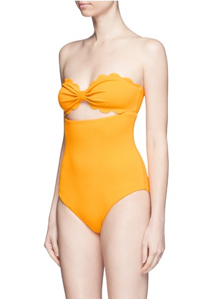 Detail View - Click To Enlarge - MARYSIA - 'Antibes' cutout bow bandeau one-piece swimsuit