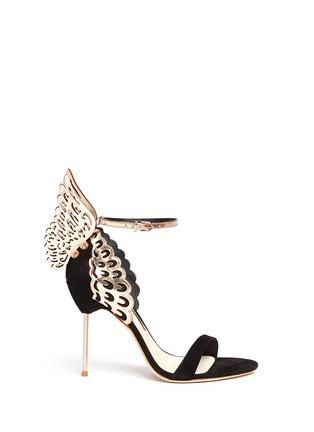 Main View - Click To Enlarge - Sophia Webster - 'Evangeline' 3D angel wing appliqué suede sandals
