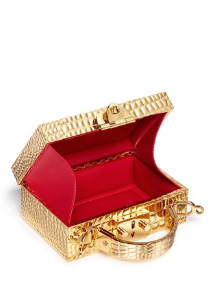 Detail View - Click To Enlarge - Mark Cross - 'Grace Box Mini' 18k gold plated brass trunk