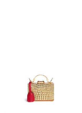 Main View - Click To Enlarge - Mark Cross - 'Grace Box Mini' 18k gold plated brass trunk