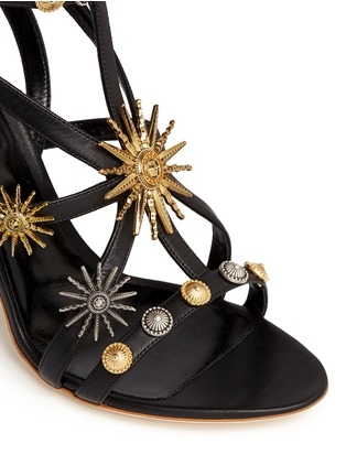 Detail View - Click To Enlarge - FAUSTO PUGLISI - Metal stud caged leather sandals