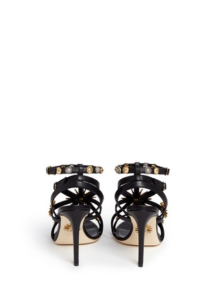 Back View - Click To Enlarge - FAUSTO PUGLISI - Metal stud caged leather sandals