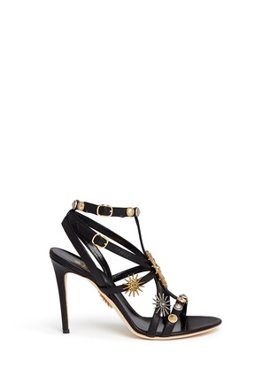 Main View - Click To Enlarge - FAUSTO PUGLISI - Metal stud caged leather sandals