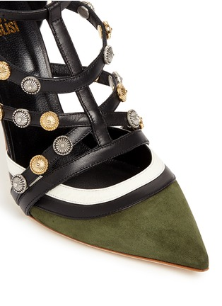 Detail View - Click To Enlarge - FAUSTO PUGLISI - Metal stud appliqué leather trim suede pumps