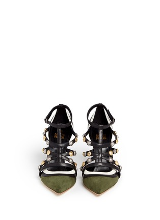 Front View - Click To Enlarge - FAUSTO PUGLISI - Metal stud appliqué leather trim suede pumps