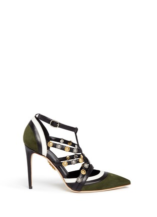 Main View - Click To Enlarge - FAUSTO PUGLISI - Metal stud appliqué leather trim suede pumps