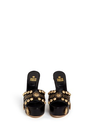 Front View - Click To Enlarge - FAUSTO PUGLISI - Zigzag heel metal stud leather mule sandals