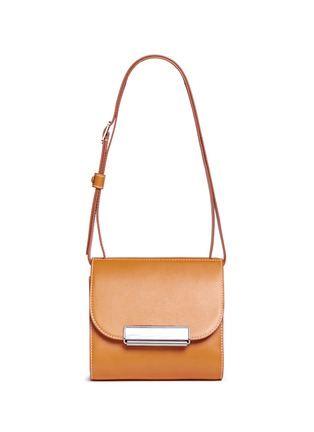 Detail View - Click To Enlarge - HILLIER BARTLEY - Pearlescent tab two-section leather shoulder bag