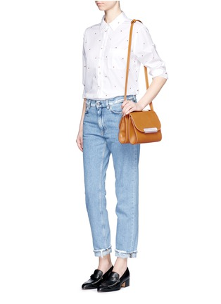 Figure View - Click To Enlarge - HILLIER BARTLEY - Pearlescent tab two-section leather shoulder bag