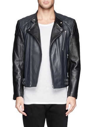 Main View - Click To Enlarge - McQ Alexander McQueen - Stitched panel biker jacket