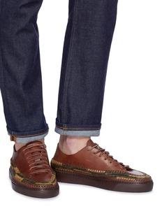 CASABLANCA1942 'Pana' raffia trim leather sneakers