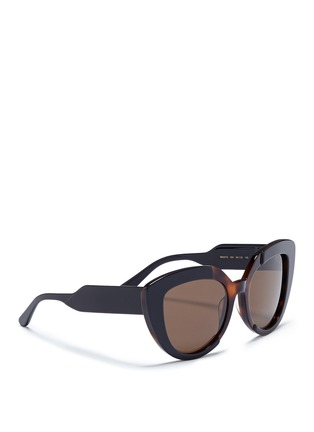 Figure View - Click To Enlarge - Marni - 'Prisma' contrast acetate cat eye sunglasses