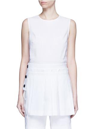 Main View - Click To Enlarge - Dkny - Asymmetric pleat overlay sleeveless linen dress