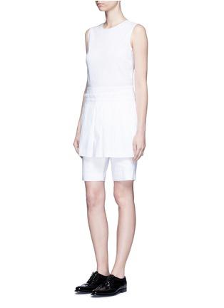 Figure View - Click To Enlarge - Dkny - Asymmetric pleat overlay sleeveless linen dress