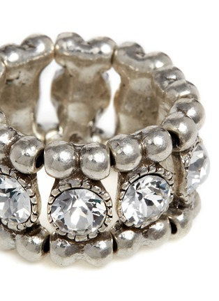 Detail View - Click To Enlarge - Philippe Audibert - 'Solange' engraved Swarovski crystal elastic ring