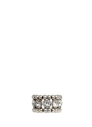 Main View - Click To Enlarge - Philippe Audibert - 'Solange' engraved Swarovski crystal elastic ring