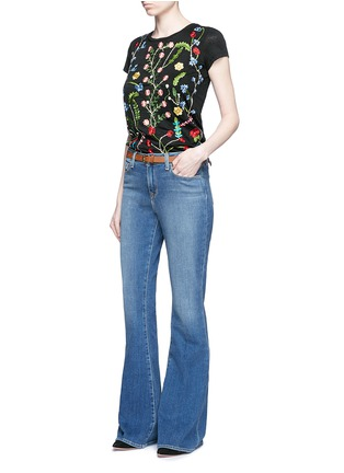 Figure View - Click To Enlarge - alice + olivia - 'Robin' floral embroidery linen T-shirt