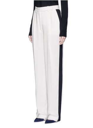 Front View - Click To Enlarge - Lanvin - Tuxedo stripe washed crepe techno pants