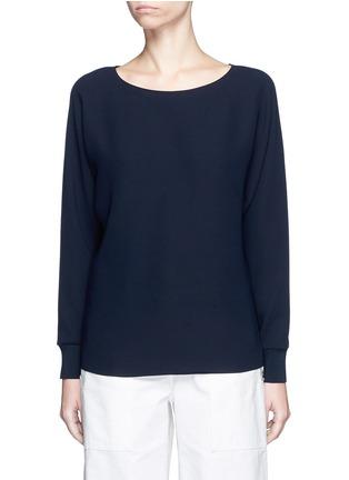 Main View - Click To Enlarge - VINCE - Rib cuff lasercut crepe blouse