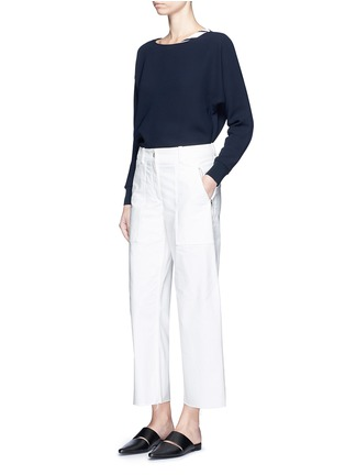 Figure View - Click To Enlarge - VINCE - Rib cuff lasercut crepe blouse