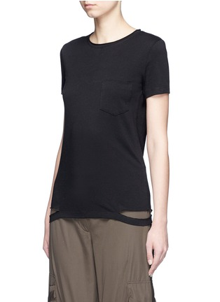 Front View - Click To Enlarge - Helmut Lang - Cutoff hem cotton jersey T-shirt