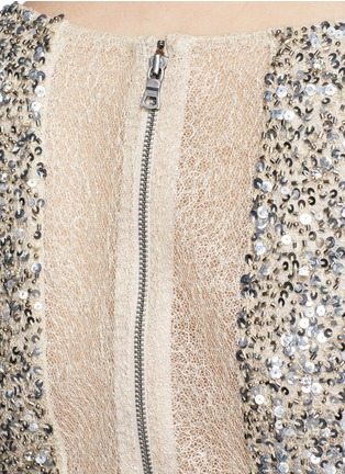 Detail View - Click To Enlarge - alice + olivia - 'Kelli' sequin embellished tulle cropped top