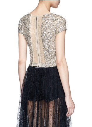 Back View - Click To Enlarge - alice + olivia - 'Kelli' sequin embellished tulle cropped top