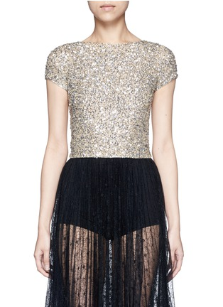 Main View - Click To Enlarge - alice + olivia - 'Kelli' sequin embellished tulle cropped top