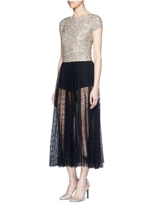 Figure View - Click To Enlarge - alice + olivia - 'Kelli' sequin embellished tulle cropped top