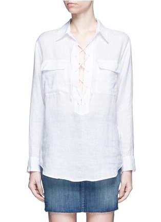 Main View - Click To Enlarge - Equipment - 'Knox' lace-up front linen shirt