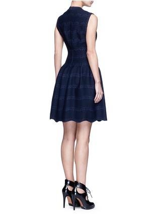 Back View - Click To Enlarge - Alaïa - 'Guirlande' wavy dot jacquard knit dress