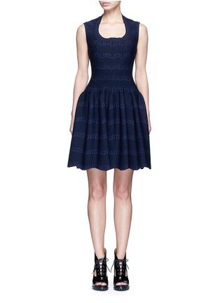 Main View - Click To Enlarge - Alaïa - 'Guirlande' wavy dot jacquard knit dress