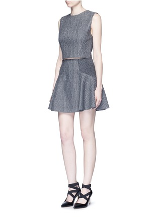 Figure View - Click To Enlarge - alice + olivia - 'Elsie' knit effect flare skirt