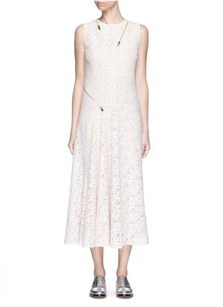 Main View - Click To Enlarge - Stella McCartney - 'Janelle' zip trim floral lace midi dress
