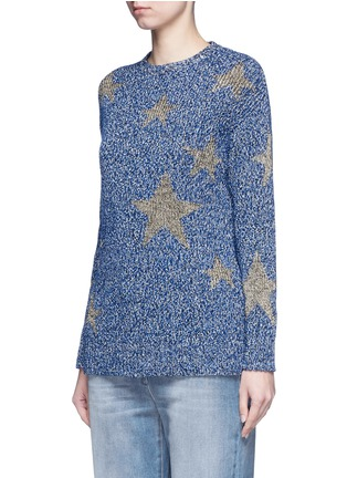 Front View - Click To Enlarge - Valentino - Metallic star intarsia mouliné knit sweater