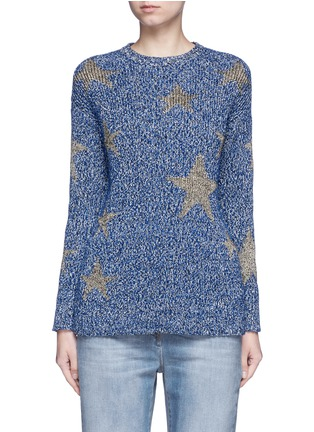Main View - Click To Enlarge - Valentino - Metallic star intarsia mouliné knit sweater