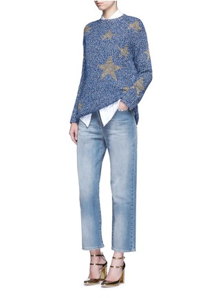 Figure View - Click To Enlarge - Valentino - Metallic star intarsia mouliné knit sweater